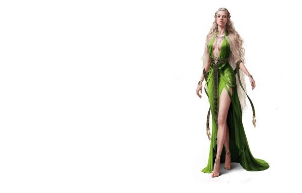 Picture girl, fantasy, tenderness, minimalism, dress, art, elf. elf