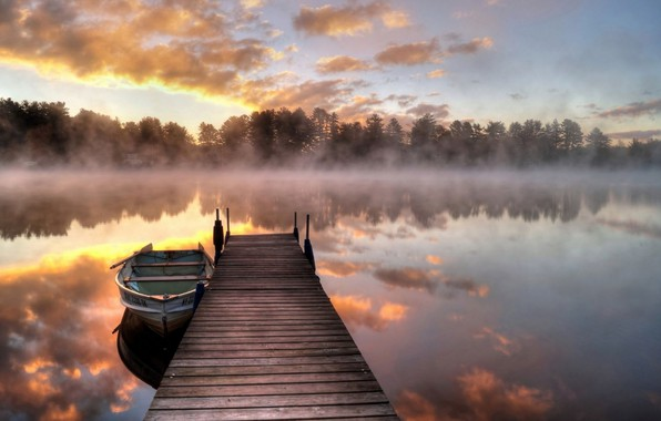 Picture Bridge, Sunrise, Morning, Fog, Lake, Reflection, Boat
