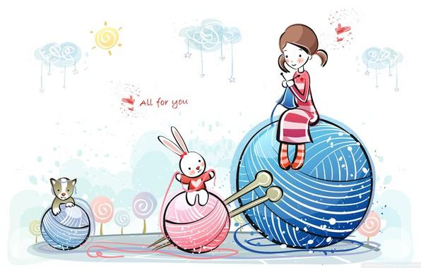 Picture girl, love, cat, sun, mood, hearts, bunny, artwork, feeling, Friendship, wool, ball of wool, paintig …