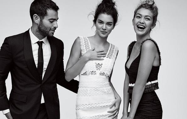 Picture smile, girls, black and white, guy, model, Kendall Jenner, Gigi Hadid