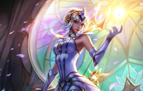 Picture light, girl, fantasy, game, magic, crown, Lux, League of Legends, digital art, petals, artwork, fantasy ...