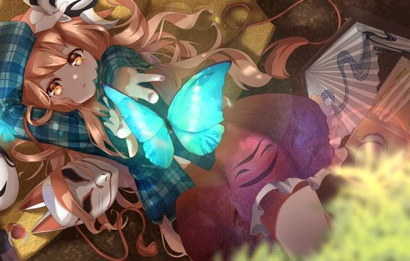 Picture girl, butterfly, anime, fan, mask, touhou, hata no kokoro, rukousou no hana