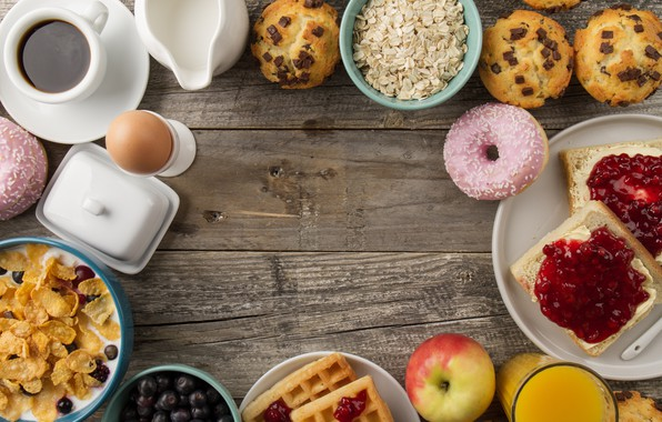 Picture coffee, eggs, Breakfast, donuts, cupcakes
