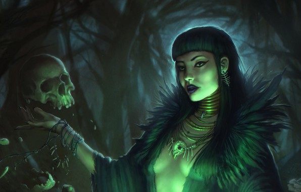 Picture look, decoration, face, magic, skull, fantasy, art, witch