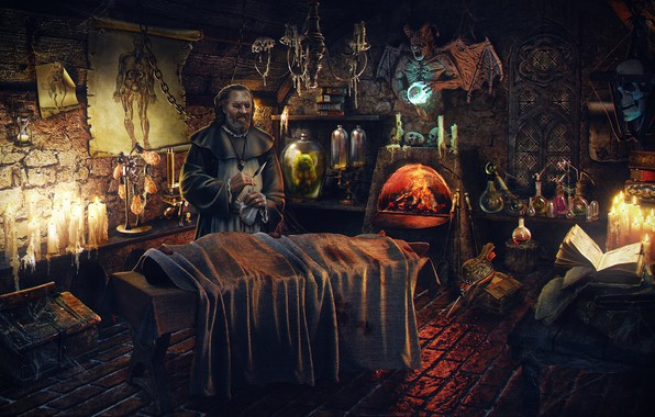 Picture the corpse, Laboratory, the alchemist, doctor