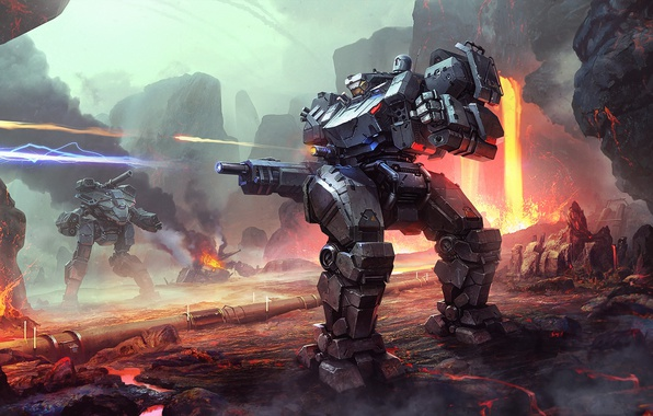 Picture fiction, rocks, war, robot, art, lava, fight, Mecha