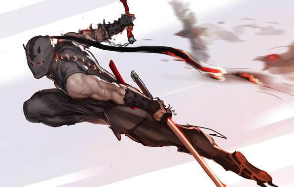 Picture weapons, mask, art, attack, ninja, Ninja