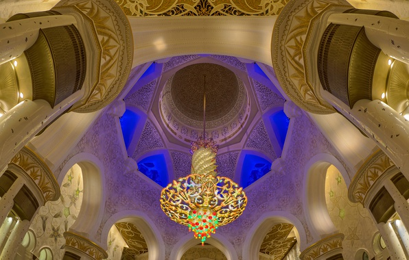 Picture chandelier, hall, UAE, Abu Dhabi, the Sheikh Zayed Grand mosque