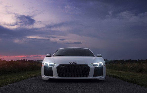 Picture the sky, light, Audi, lights, the evening, morning, Audi R8