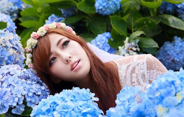 Picture flowers, face, mood, Asian, wreath, hydrangea