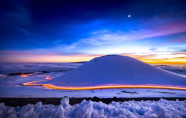 Picture winter, road, the sky, light, snow, night, the moon, excerpt
