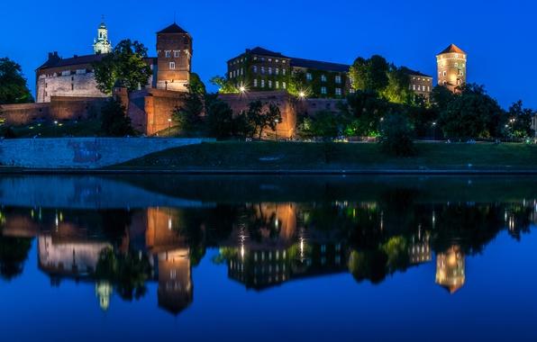 Picture night, lights, reflection, river, castle, Poland, Krakow, Wawel Castle