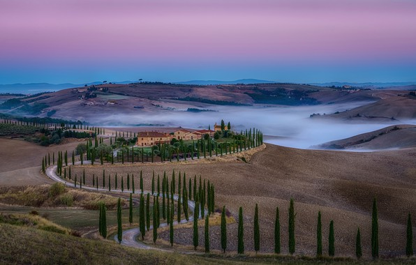 Picture road, the sky, trees, fog, hills, field, Italy, houses, Tuscany