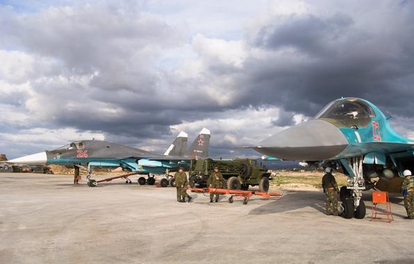 Picture soldiers, Su-34, Syria, Videoconferencing Russia