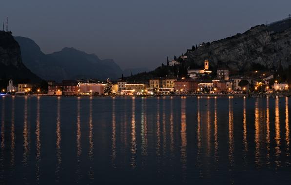 Picture Italy, night, mountains, lake, chapel, Torbole, Garda Lake, fog. Chirstmas