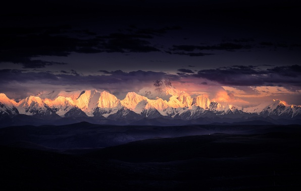Picture clouds, light, mountains, The Himalayas