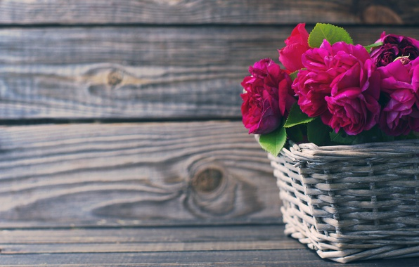 Picture basket, roses, pink, wood, pink, flowers, beautiful