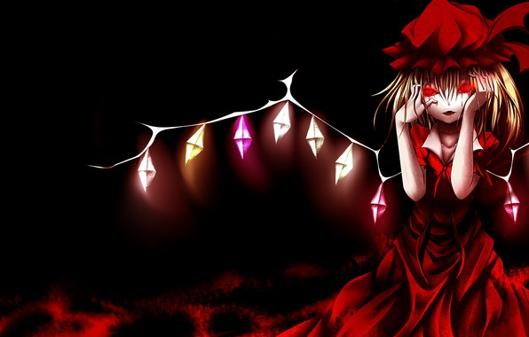 Picture red dress, red eyes, art, bloody tears, vampire, crazy, Touhou Project, Flandre Scarlet, in the …