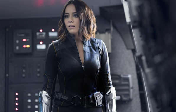 Picture girl, spy, brunette, agent, uniform, seifuku, S. H. I. E. L. D., Chloe Bennet, tv …