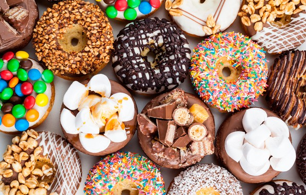 Picture chocolate, candy, sweets, donuts, nuts, cakes, marshmallows