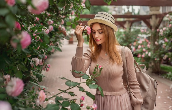 Picture girl, flowers, mood, roses, hat, red, redhead, the bushes, A Diakov George, Christina Kardava