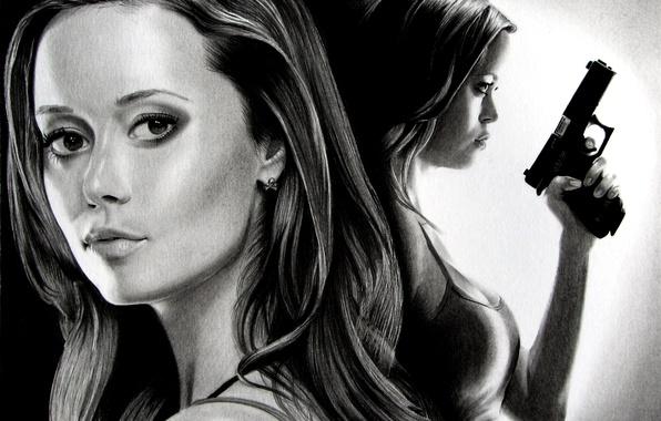 Picture girl, gun, figure, portrait, art, black and white, Terminator, Summer Glau, Summer Glau, The Sarah …
