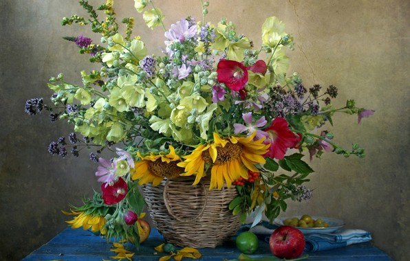 Picture sunflowers, basket, Apple, mallow