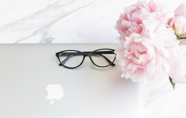 Wallpaper flowers, apple, bouquet, glasses, laptop, marble, pink, flowers, peonies, peonies, tender, marble