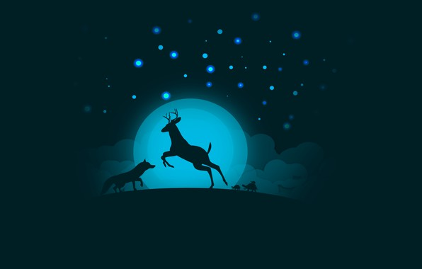 Picture the sky, clouds, night, the moon, deer, Fox, turtles, by 0l-Fox-l0