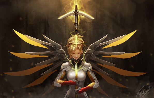 Picture girl, weapons, wings, overwatch, mercy, kmgmai