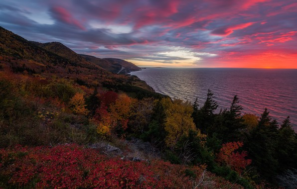 Picture sunset, the ocean, coast, Canada, Canada, Nova Scotia, Nova Scotia, Cape Breton Island, The Gulf …