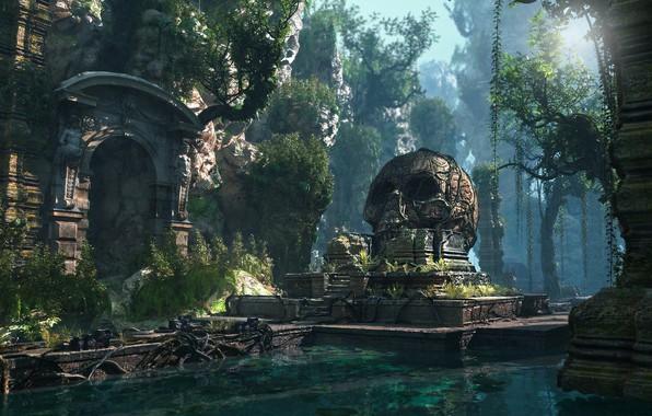 Picture mountains, skull, temple, pond, Lost Civilization