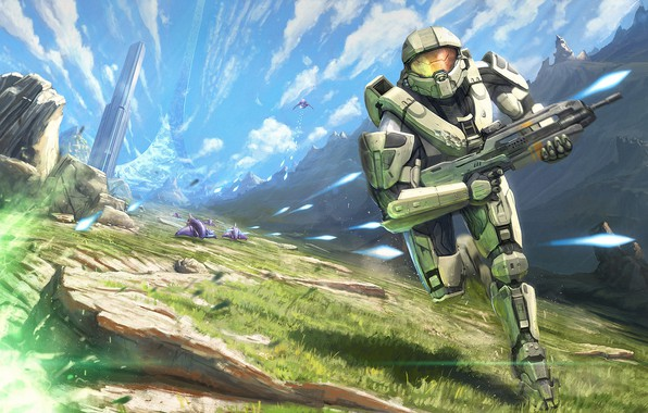 Picture future, gun, grass, fantasy, game, Ghost, soldier, armor, sky, landscape, science fiction, mountains, clouds, sci-fi, …