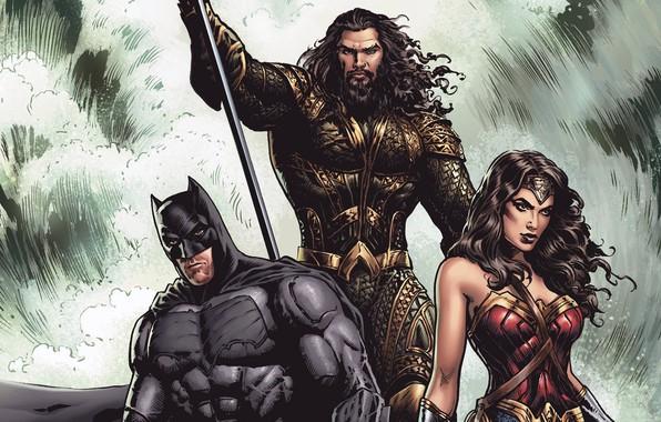 Picture fantasy, Wonder Woman, Batman, comics, artwork, mask, superheroes, costume, fantasy art, Aquaman, Justice League