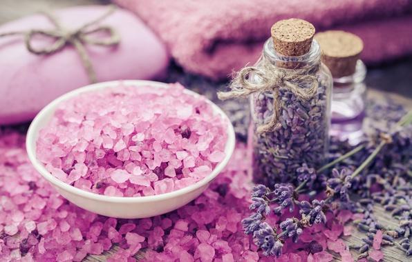 Picture soap, pink, lavender, lavender, salt, spa, oil