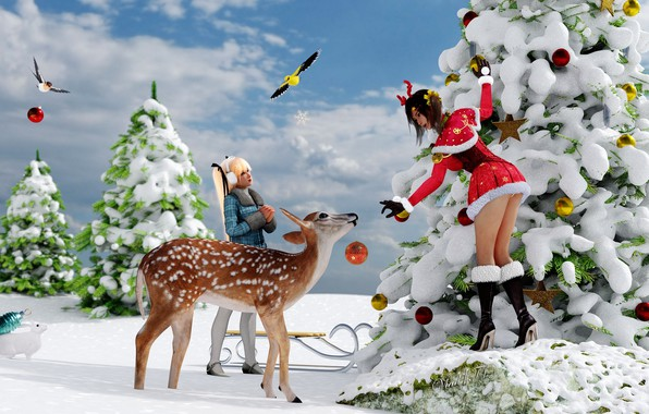 Picture animals, girls, new year, Christmas