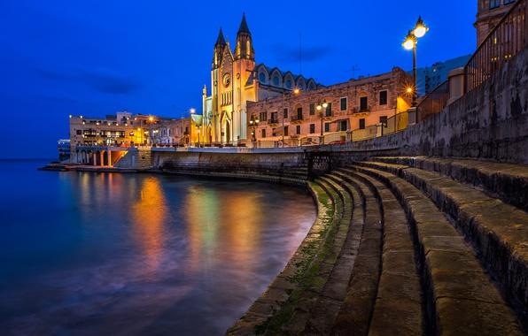 Picture water, lights, Cathedral, promenade, Malta, Valletta