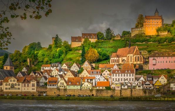 Picture autumn, river, building, home, Germany, Germany, Hesse, Neckar River, Hesse, Hisar, Hirschhorn, The Neckar River