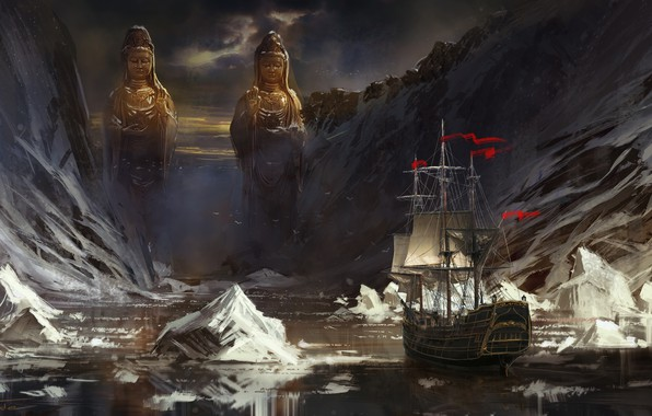 Picture sea, mountains, ship, sailboat, ice, statues, frigate, icebergs, Jude Smith, Red Flags
