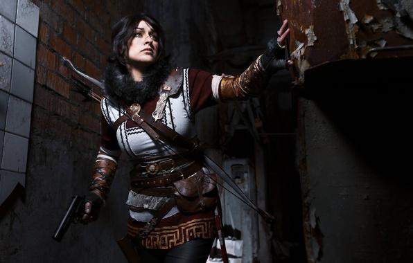 Picture Tomb Raider, girl, gun, pistol, weapon, woman, cosplay, brunette, Lara Croft, bow, gloves, arrow