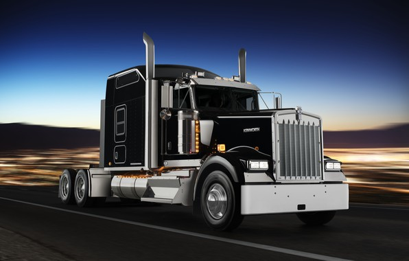 Picture road, movement, black, truck, chrome, tractor, Kenworth, special model W900L, Icon 900