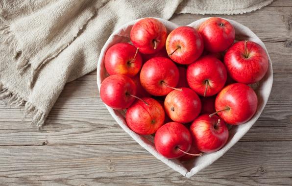 Picture apples, love, fruit, heart, wood, romantic, apples