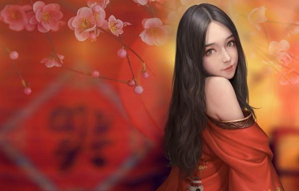 Picture girl, spring, Sakura, art, Maou Renjishi
