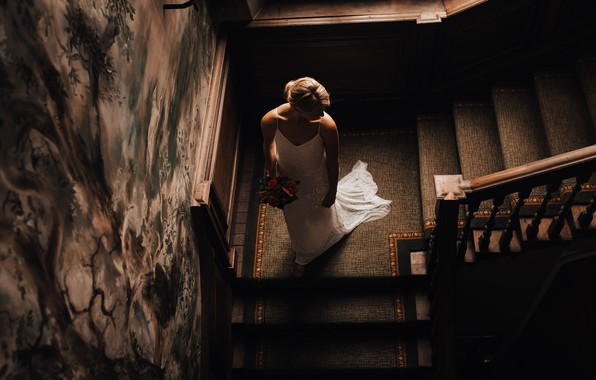Picture flowers, bouquet, blonde, ladder, the bride, white dress, wedding