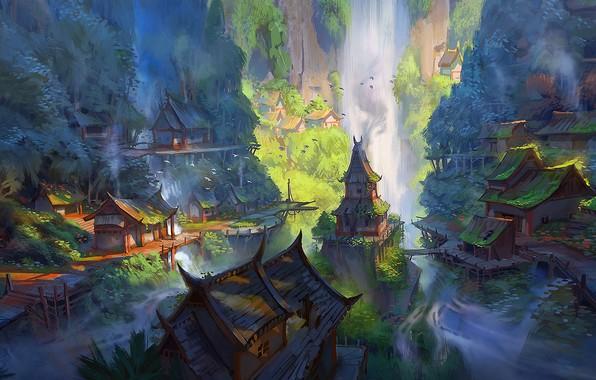 Picture fantasy, forest, river, trees, landscape, water, rocks, houses, waterfall, digital art, waterfalls, artwork, Village, fantasy …