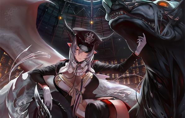 Picture demon, girl, horns, hat, anime, beast, anime girl, pointed ears, Shingeki no Bahamut, thigh-highs, Beast …
