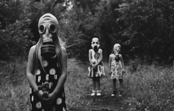 Picture nature, girls, masks, summer girls