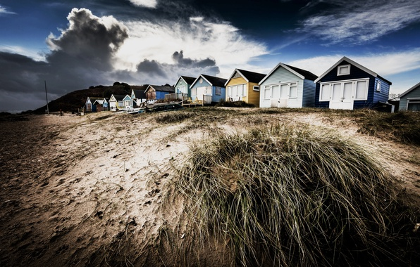 Picture background, shore, houses