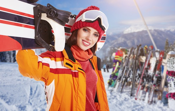 Picture winter, the sun, snow, mountains, smile, background, stay, snowboard, sport, hat, ski, makeup, glasses, jacket, …