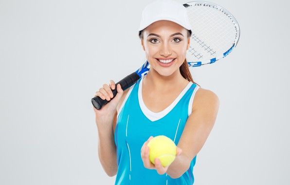 Picture girl, smile, background, Mike, racket, cap, the ball, athlete, tennis